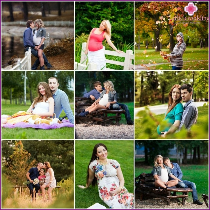 Park photo shoot for pregnant