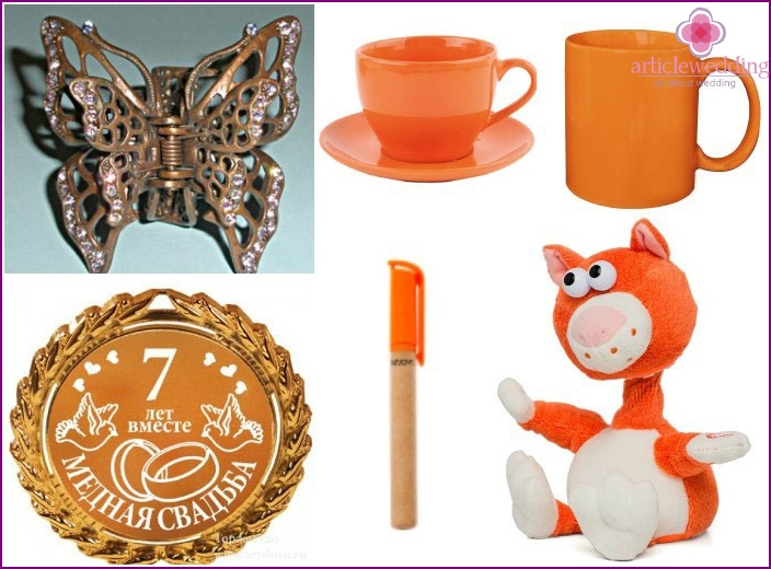 Themed gifts for tenders for the seventh anniversary