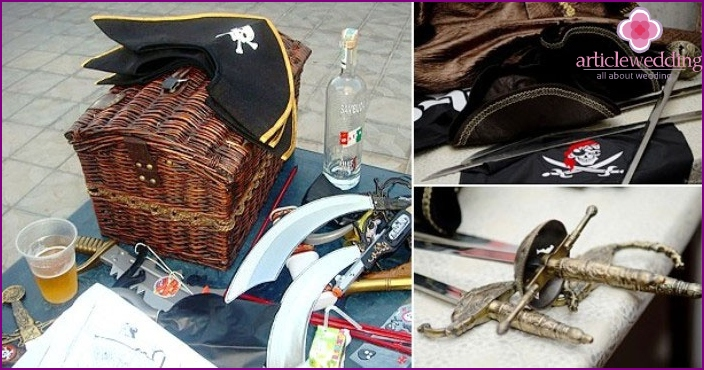 Details sea redeem pirate hats and swords