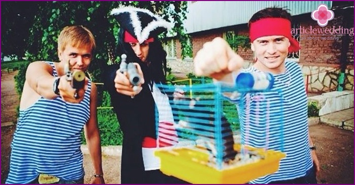 groom party dressed as pirates in ransom