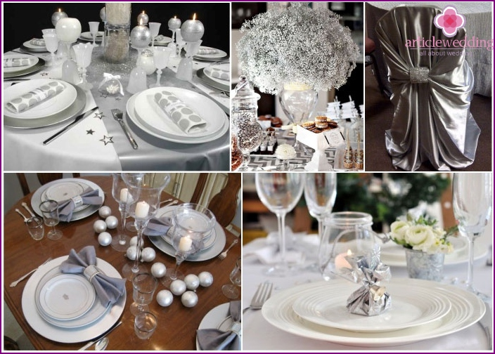 Examples of table setting for nickel wedding anniversary