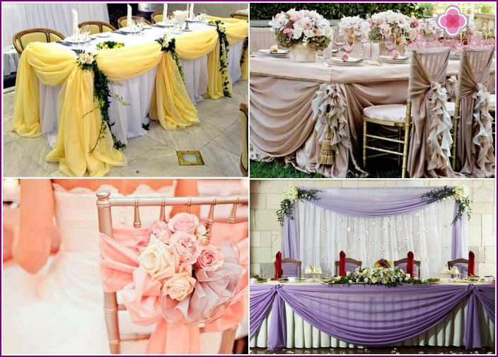 Fabric as a decoration on wedding table photo