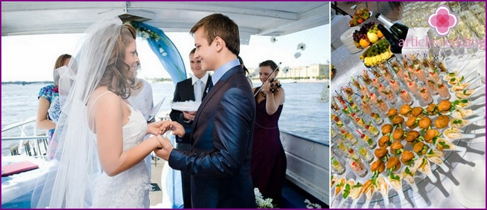 A small wedding reception on a boat