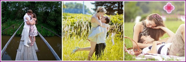 Calico wedding: photography newly-married couple on nature