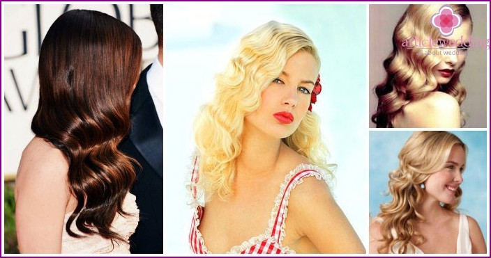 The image of the bride's friends: hairstyle Hollywood wave