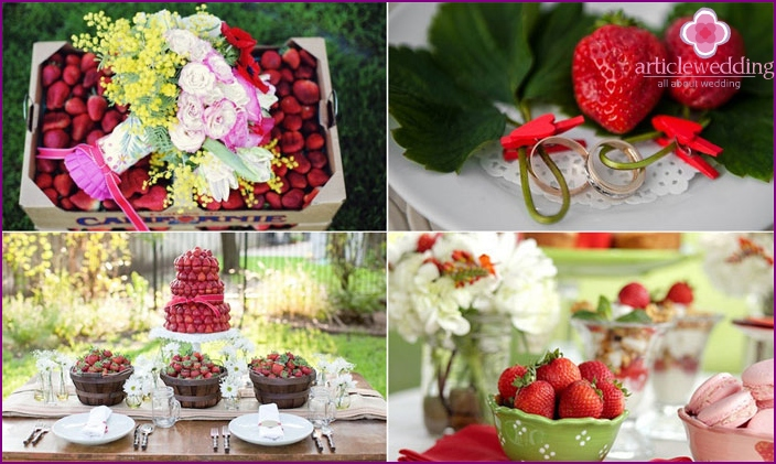 The decor of the banquet hall strawberries