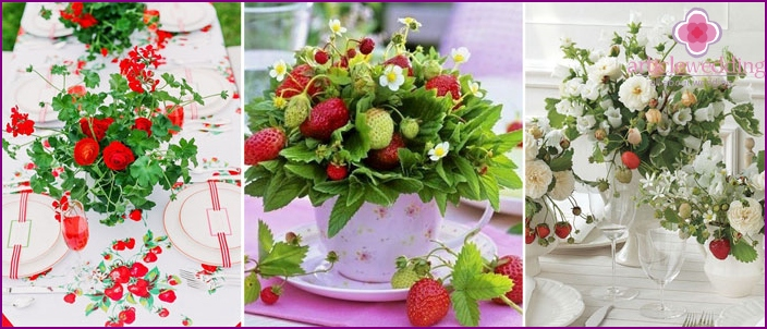 Decoration of wedding table strawberries
