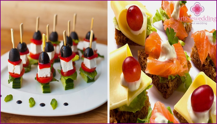 Festive sandwiches and canapés