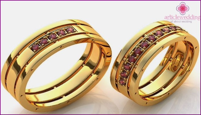 Wedding ring with ruby