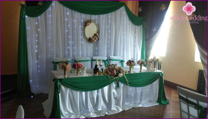 Decoration of a festive table for 55 wedding anniversary