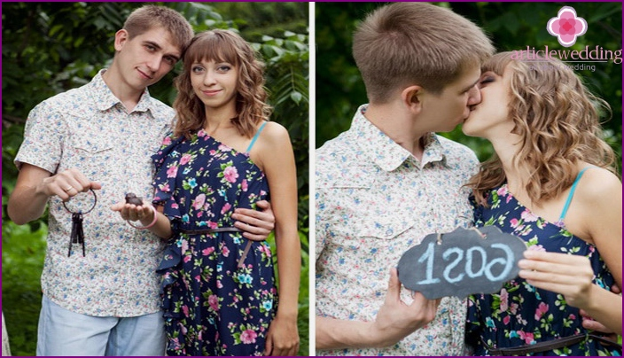 Young couple celebrates 1 year of marriage