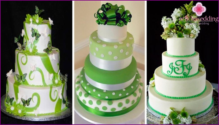 Cake for anniversary in emerald tones