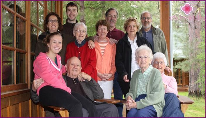 Children and grandchildren of anniversaries of 70 years of marriage
