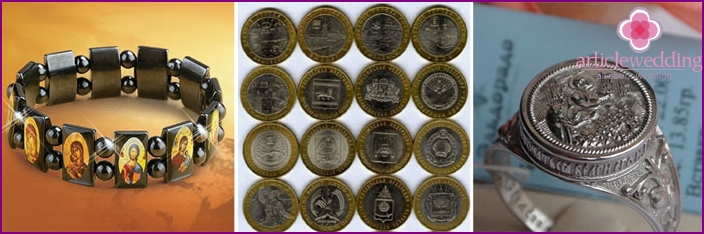 Presents her husband on the wedding