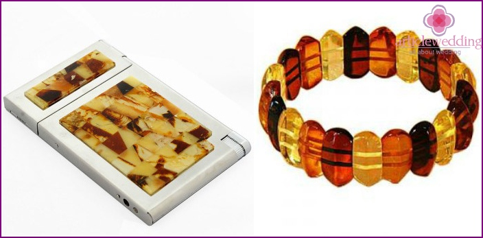 Gifts: amber cigarette case with a lighter and a bracelet