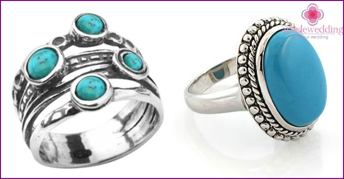 Turquoise rings for anniversary