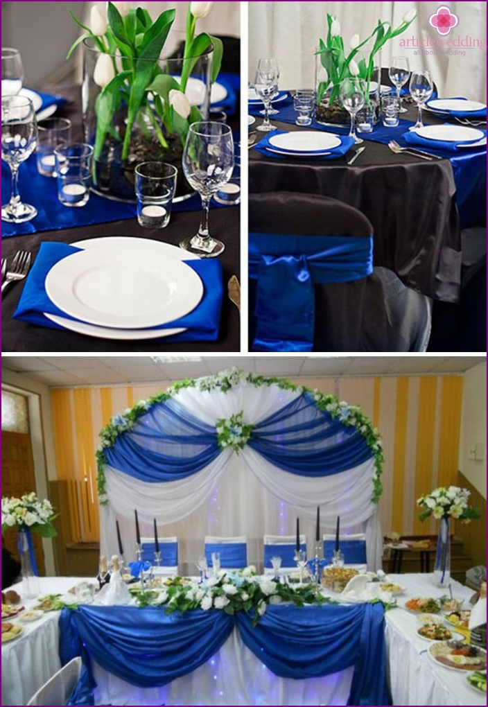 Tableware on a sapphire wedding