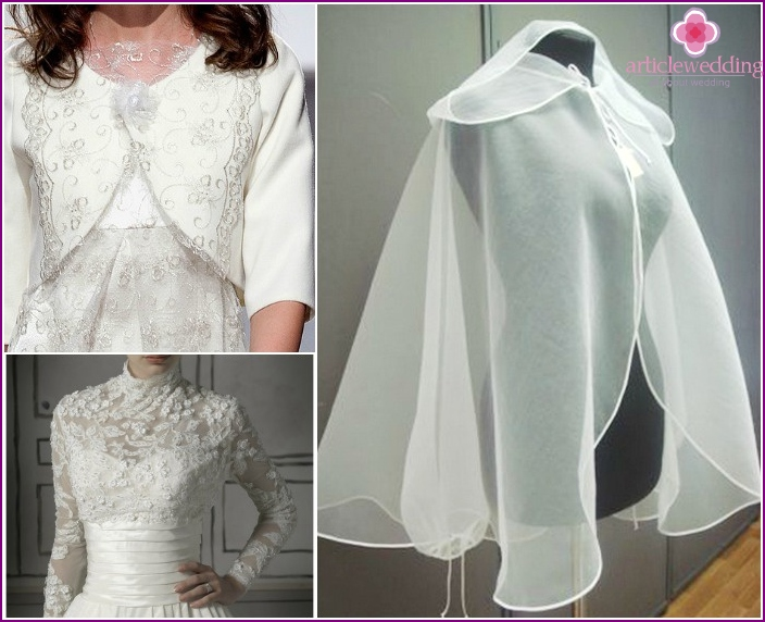 Accessories designed to hide the bride's shoulders