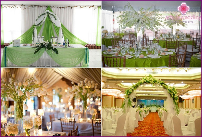 The decor of the banquet hall for the April wedding