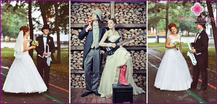 Musical images of the bride and groom