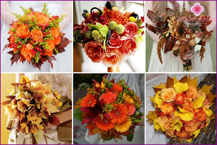 Autumn bouquets for the bride