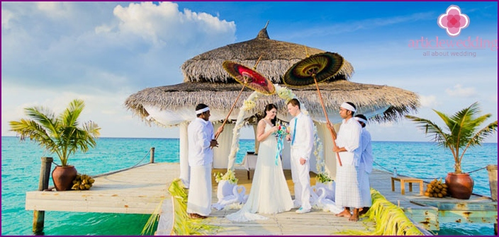 The wedding ceremony in the Maldives
