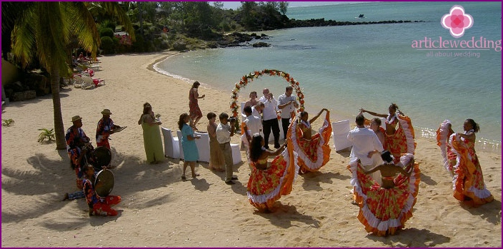The wedding ceremony in Mauritius