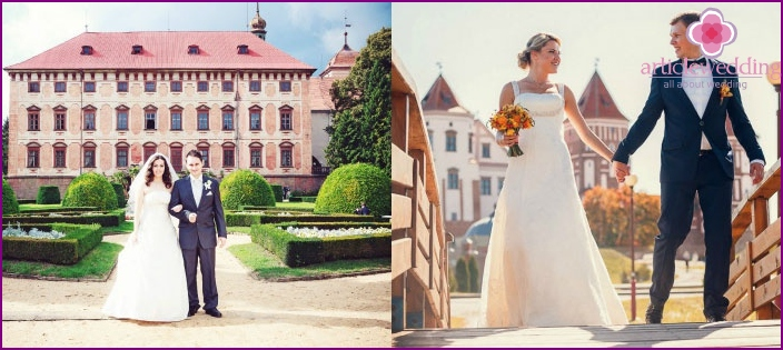 Stylish wedding photos at the palace