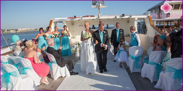 Wedding ceremony on a yacht