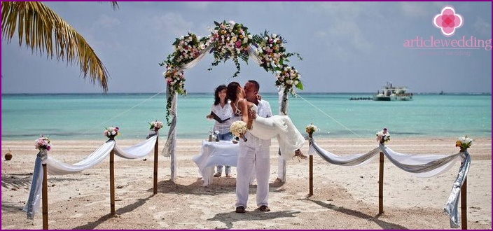 Symbolic wedding in the Caribbean