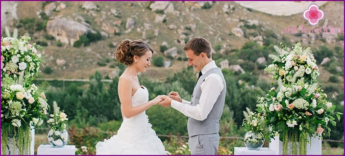 Wedding ceremony on the Crimean coast