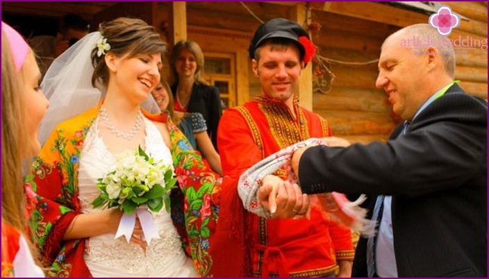 The symbolic wedding ceremony in Russian