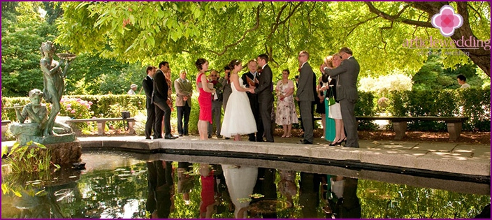The wedding in the park outdoors