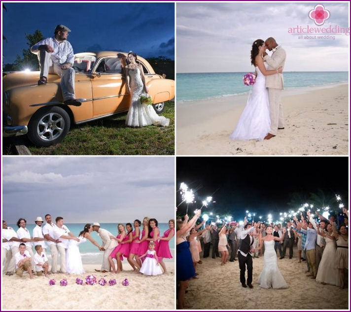 The wedding ceremony on the island of Cuba