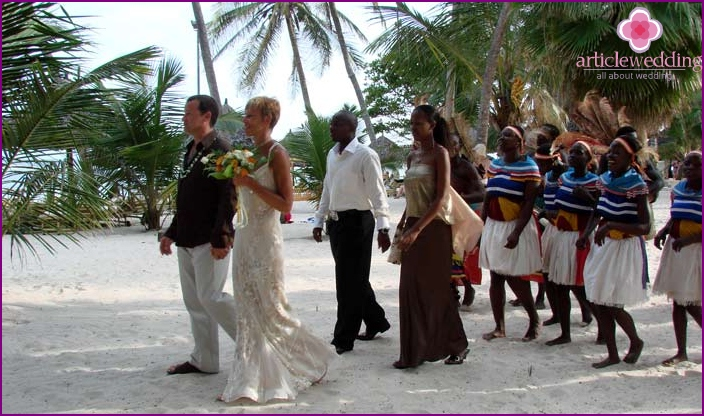 Wedding ceremony with the participation of the African tribe