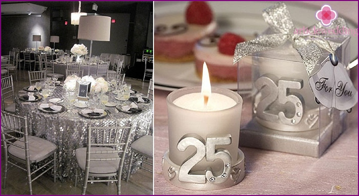 Elements banquet decorations for silver wedding
