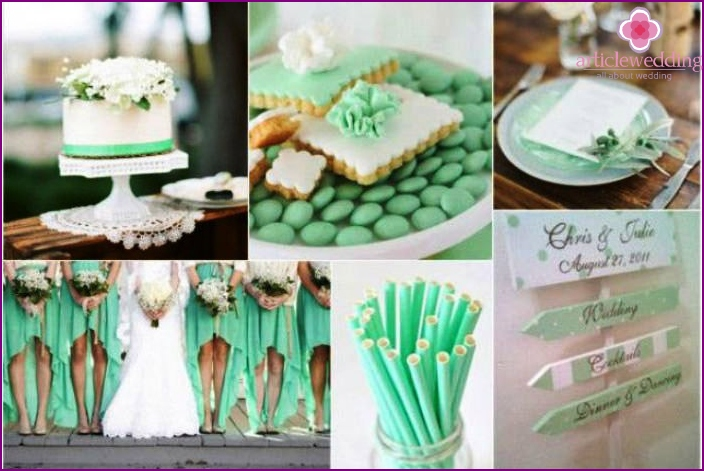 Trendy mint tone at the wedding