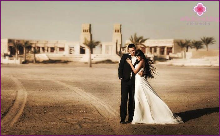 The wedding ceremony in the vast desert of Dubai
