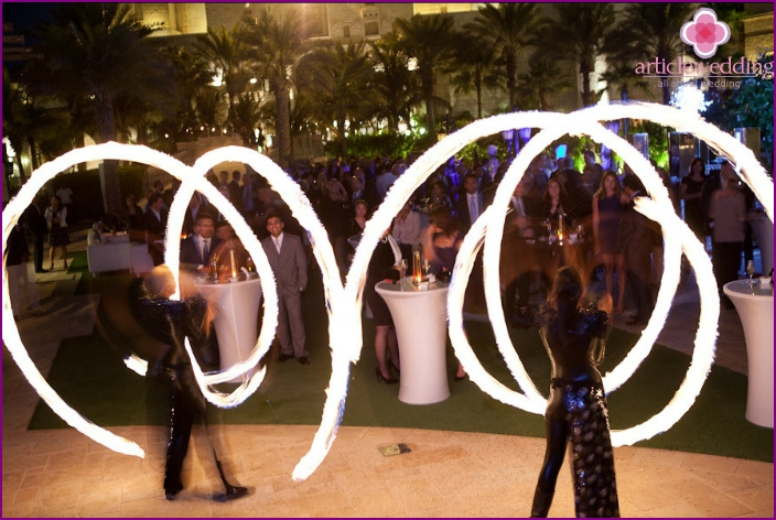 Fire show on Dubai's wedding