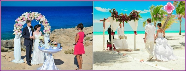 Wedding ceremony on the island