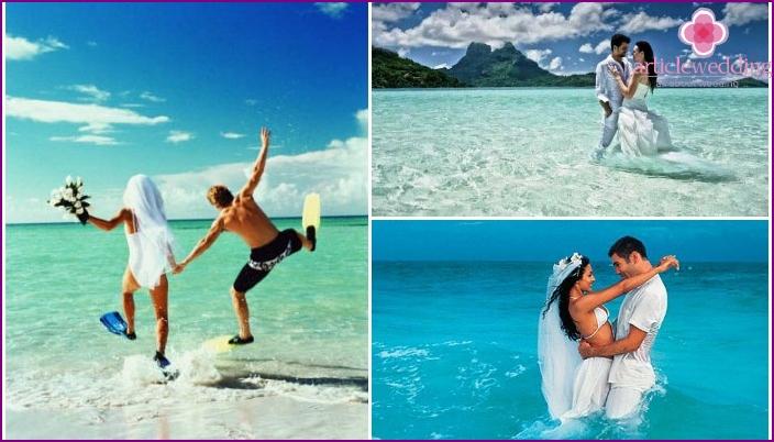 Beach wedding photo shoot in water