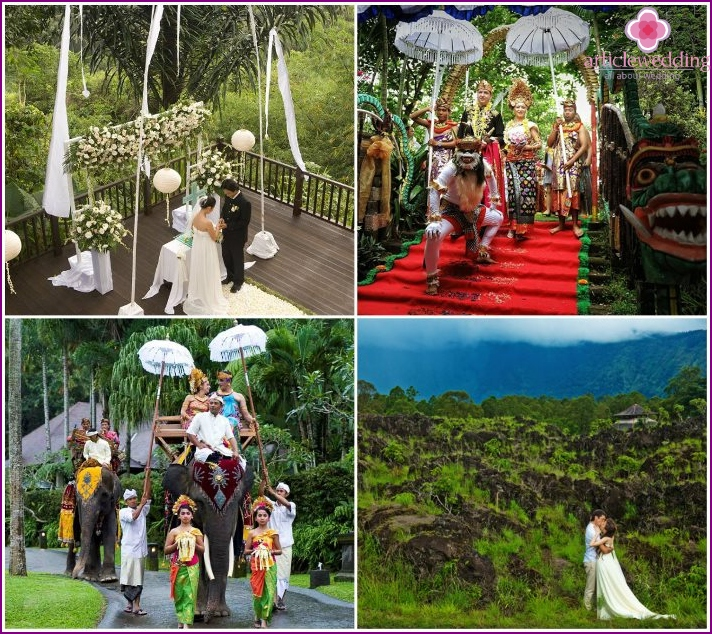 The wedding ceremony in the mountains of Ubud in Bali