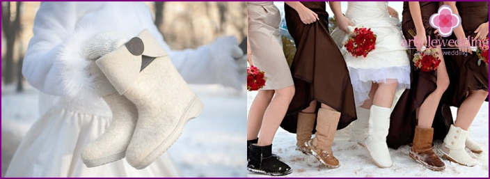 Warm winter shoes as an attribute of the photo shoot newlyweds