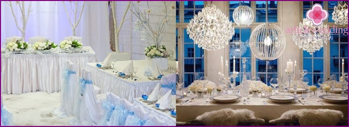 Themed restaurant: wedding in winter style