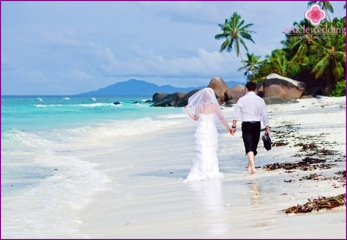 The wedding ceremony in the Seychelles