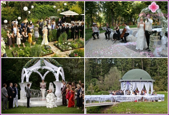 The wedding ceremony in the park