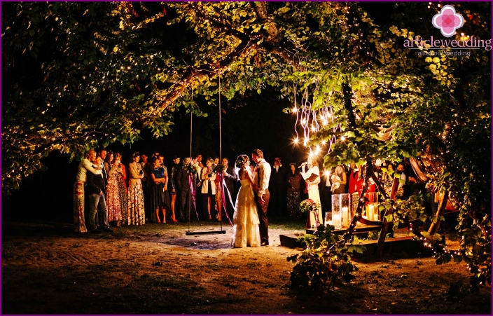 Evening wedding ceremony outdoors