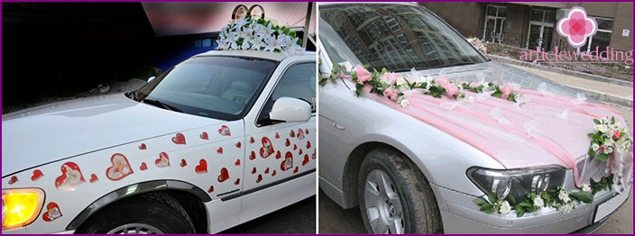 The decor for the wedding car with his hands