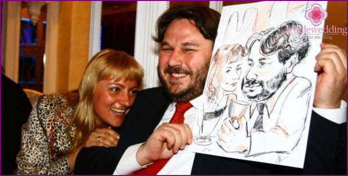 The work of the artist-caricaturist at the wedding