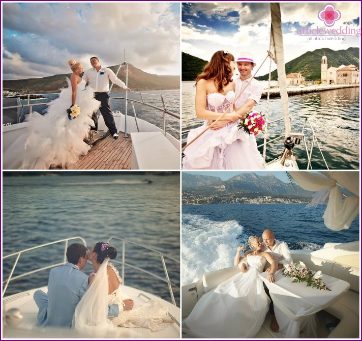 Wedding on a yacht at sea, Montenegro